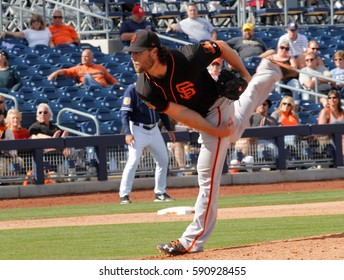 Hunter Stickland pitcher for the San Francisco Giants at Peoria Sports Complex in Peoria Arizona USA February 28,2017.
