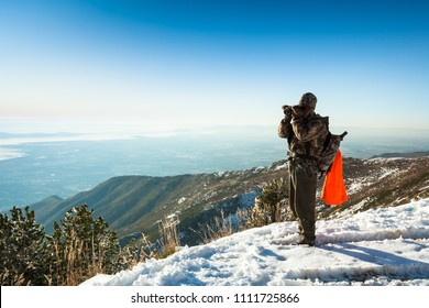 Hunter (unrecognizable) looking for Elk at Francis Peak at Wasatch National Forest, Wasatch Range, Utah, USA