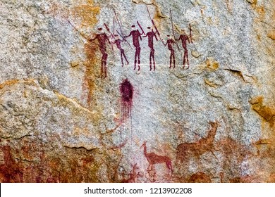Hunter-gatherer rock art paintings in Chinhamapare Hill within Vumba Mountain Range in Manica, Mozambique