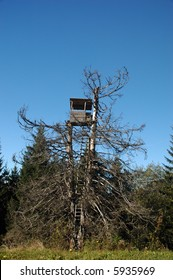 Hunters lookout station camouflagued by old tree