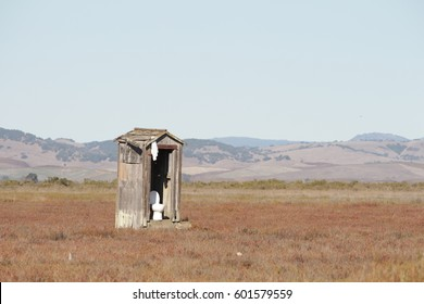Hunter's Outdoor Bathroom Outhouse in Nature