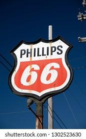 Huntersville, NC USA - Feb 2, 2019 - Weathered Phillips 66 Gasoline station sign