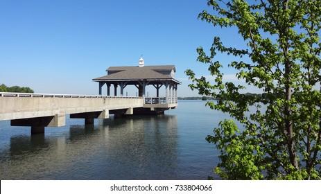 HUNTERSVILLE, NORTH CAROLINA - APRIL 2014: A pier at Blythe Landing, Lake Norman