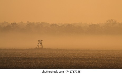 A hunting blind in a foggy morning in Poland