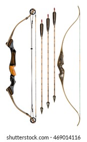 hunting bows and arrows isolated on white