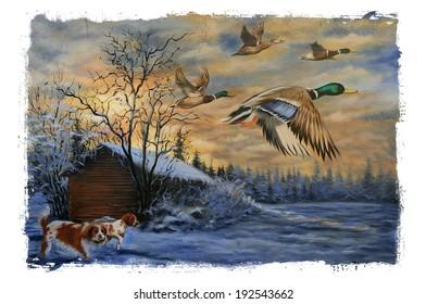 Hunting Dogs Ducks Torn Edges