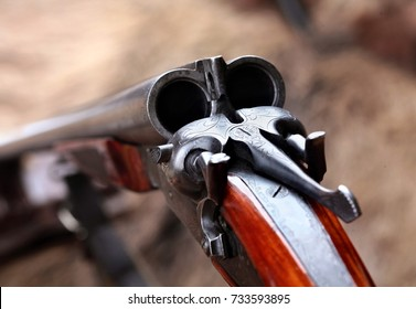 Hunting double barrel vintage shotgun, close-up.Selecyive focus.Concept hunting