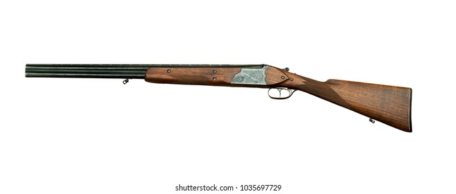 hunting double-barreled shotgun with barrels located one above the other, isolated