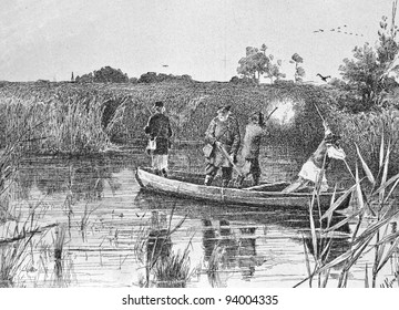 """Hunting for ducks. Engraving by Angerer from picture by painter Kravchenko. Published in magazine """"Niva"""", publishing house A.F. Marx, St. Petersburg, Russia, 1893"""