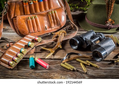 Hunting equipment in a forester lodge