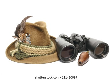 hunting equipment - hat, binoculars and game call for foxes