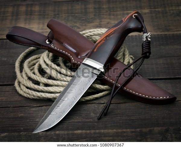 Hunting Knife Damascus Mosaic Mammoth Tusk Stock Photo (Edit