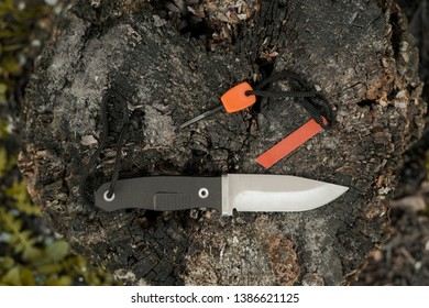 Hunting knife and flint. Survival knife and flint on the stump