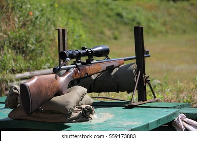 Hunting rifle while adjustment at a shooting range