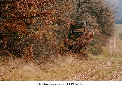 Hunting tower in the autumn forest field perfect place to observing animals