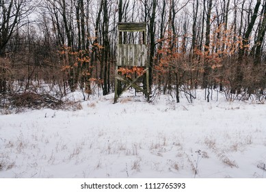 Hunting tower hiding in snowy winter foest perfect place for hunting or observing animals