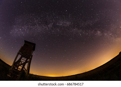 Hunting tower and Milky Way in southern Poland