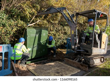 Huntingdon, Cambridgeshire UK - November 15 2013: Installation of Superfast Broadband Fibre Cabinet to Rural Village by BT Openreach - one of the very first in the UK