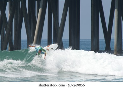 HUNTINGTON BEACH, CA - AUGUST 2: Yadin Nicol competes in the Nike US Open of Surfing in Huntington Beach, CA on August 2, 2012