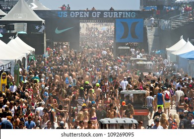 HUNTINGTON BEACH, CA - AUGUST 2: Crowds of surf fans at the Nike US Open of Surfing in Huntington Beach, CA on August 2, 2012
