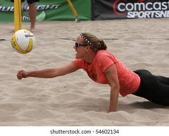 HUNTINGTON BEACH, CA - JUNE 5: Tracy Jones digs a ball at the AVP pro volleyball tournament June 5, 2010 in Huntington Beach, CA