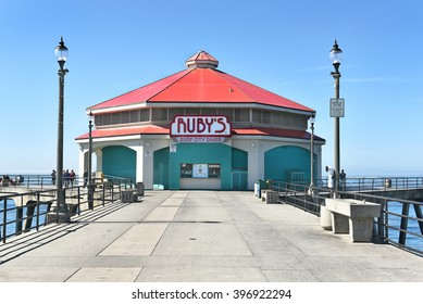 HUNTINGTON BEACH, CA - MARCH 25, 2015: Ruby's Surf City Diner. The restaurant has been a fixture on the city's pier since 1980.