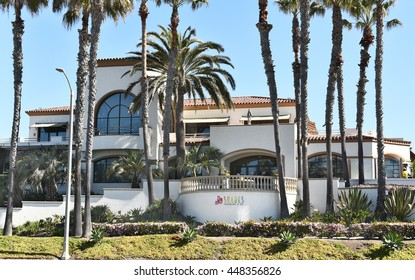 HUNTINGTON BEACH, CA - MARCH 25, 2015: Shades Restaurant and Bar. Part of the Hiltons Waterfront Beach Resort in Huntington Beach, CA.