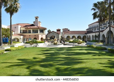 HUNTINGTON BEACH, CA - MARCH 25, 2015: Hyatt Regency Hotel. The grounds at the luxury hotel on PCH in Huntington Beach, California.