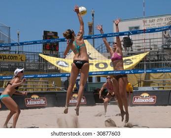 HUNTINGTON BEACH, CA. - MAY 23: AVP Huntington Beach Open, Ashley Ivy and Lauren Fendrick vs Jennifer Kessy and April Ross at the Huntington Beach Open on May 23rd 2009