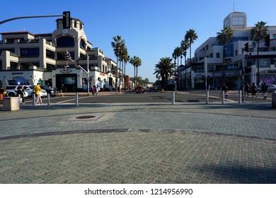 HUNTINGTON BEACH, CA - OCTOBER 26, 2018: Main Street and PCH in Huntington Beach