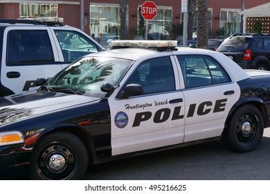 HUNTINGTON BEACH, CA - OCTOBER 7, 2016: Huntington Beach police cars parked near main street