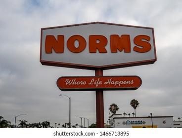 Huntington Beach, CA / USA - 07/28/2019: A Norms Restaurant Location