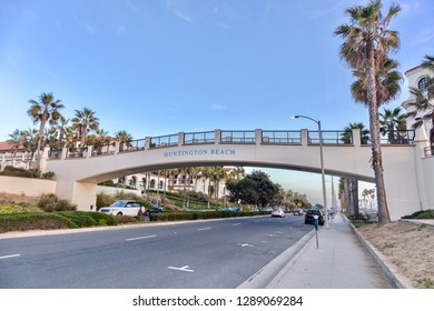 Huntington Beach, CA / USA - December 16, 2018: Pacific Coast Highway and the bridge in Huntington Beach