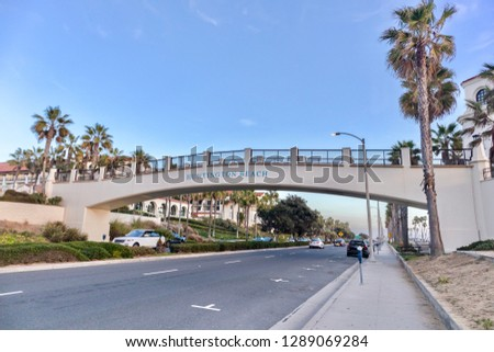 Huntington Beach, CA / USA - December 16, 2018: Pacific Coast Highway and the bridge in Huntington Beach