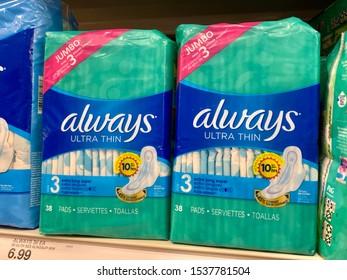 Huntington Beach, CA / USA - October 20, 2019: Always feminine hygiene products on a store shelf