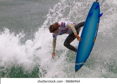 HUNTINGTON BEACH, CA-AUGUST 8: Miguel Pupo of Brazil competes in the Men's Quarter Heat Sunday, August 8, 2010 in Huntington Beach.  The event ends today with an award's ceremony.