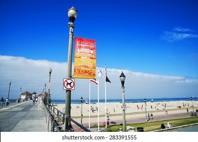 HUNTINGTON BEACH, CALIFORNIA - JUNE 1, 2015: The Beachside Summerfest is a music festival on the waterfront with a variety of musicians, demonstrations by skate professionals and free activities.