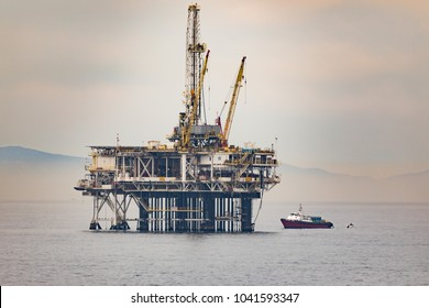 HUNTINGTON BEACH, CALIFORNIA - MARCH 8, 2018: President Trump pushes for offshore drilling in California. He has the support of Representative Dana Rohrabacher.