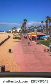 Huntington Beach, California - October 11, 2018: View from above along boardwalk at Huntington Beach California