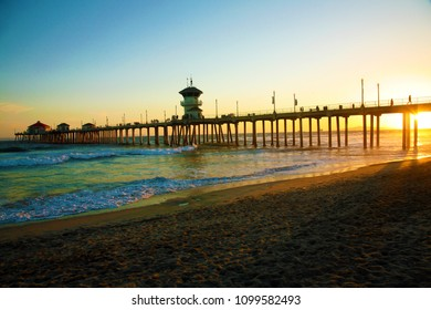 Huntington Beach California Pier at Sunset.