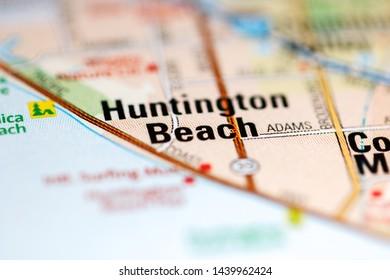 Huntington Beach. California. USA on a map