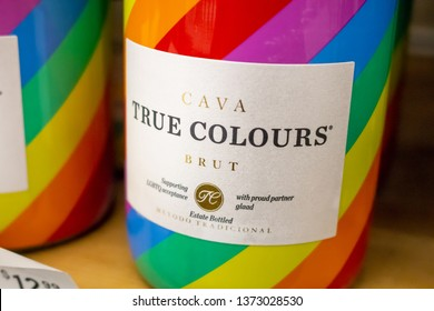 Huntington Beach, California/United States: 04/07/2019: Bottles of True Colours Cava sparkling wine on a shelf at a grocery store