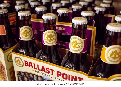 Huntington Beach, California/United States: 04/07/2019: Several six pack cases of Ballast Point bottled beer