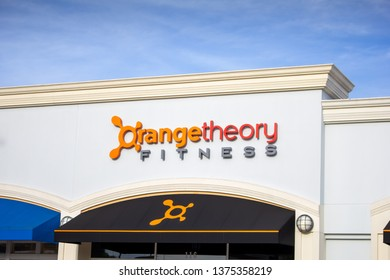 Huntington Beach, California/United States: 04/07/2019: A store front sign for the gym known as Orange Theory Fitness