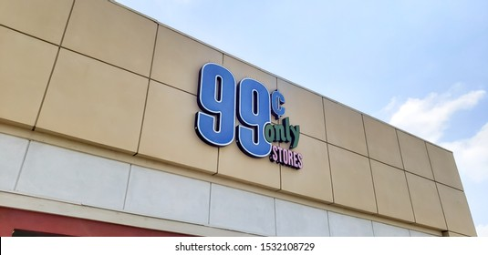 Huntington Beach, California/United States - 09/04/2019: A store front sign for the bargain retail store known as 99 Cent Only store