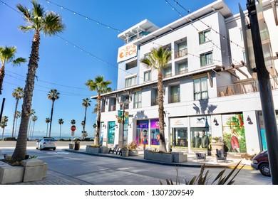 Huntington Beach, CA/USA - February 7, 2019: The Ripcurl Store in Huntington Beach on Pacific Coast Highway