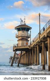 The Huntington Beach pier at sunrise, CA