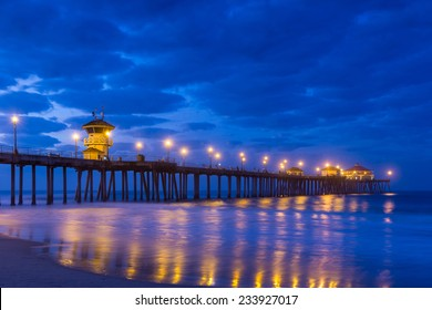 The Huntington Beach pier at sunrise, CA