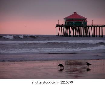 Huntington Beach Pier at Sunset. Orange County, California.