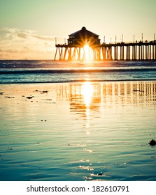 Huntington Beach Pier Sunset Vintage Retro